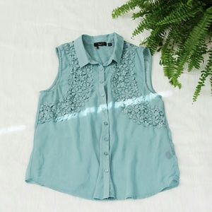 Tops - NWOT Sheer Flower Embroidered Top